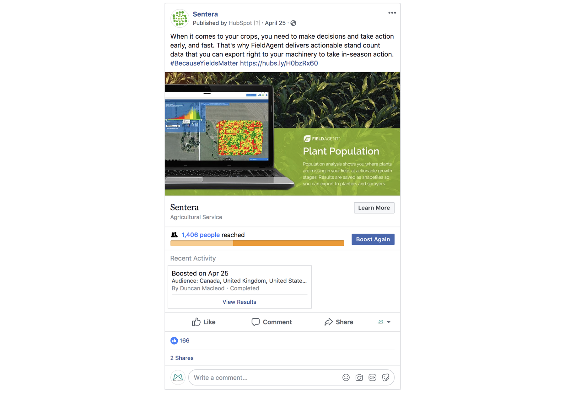 Facebook Post Engagement Ad Example | Which type of Facebook ad should you use for your business? | Macleod & Co. | Full Service Digital Marketing Agency Minneapolis