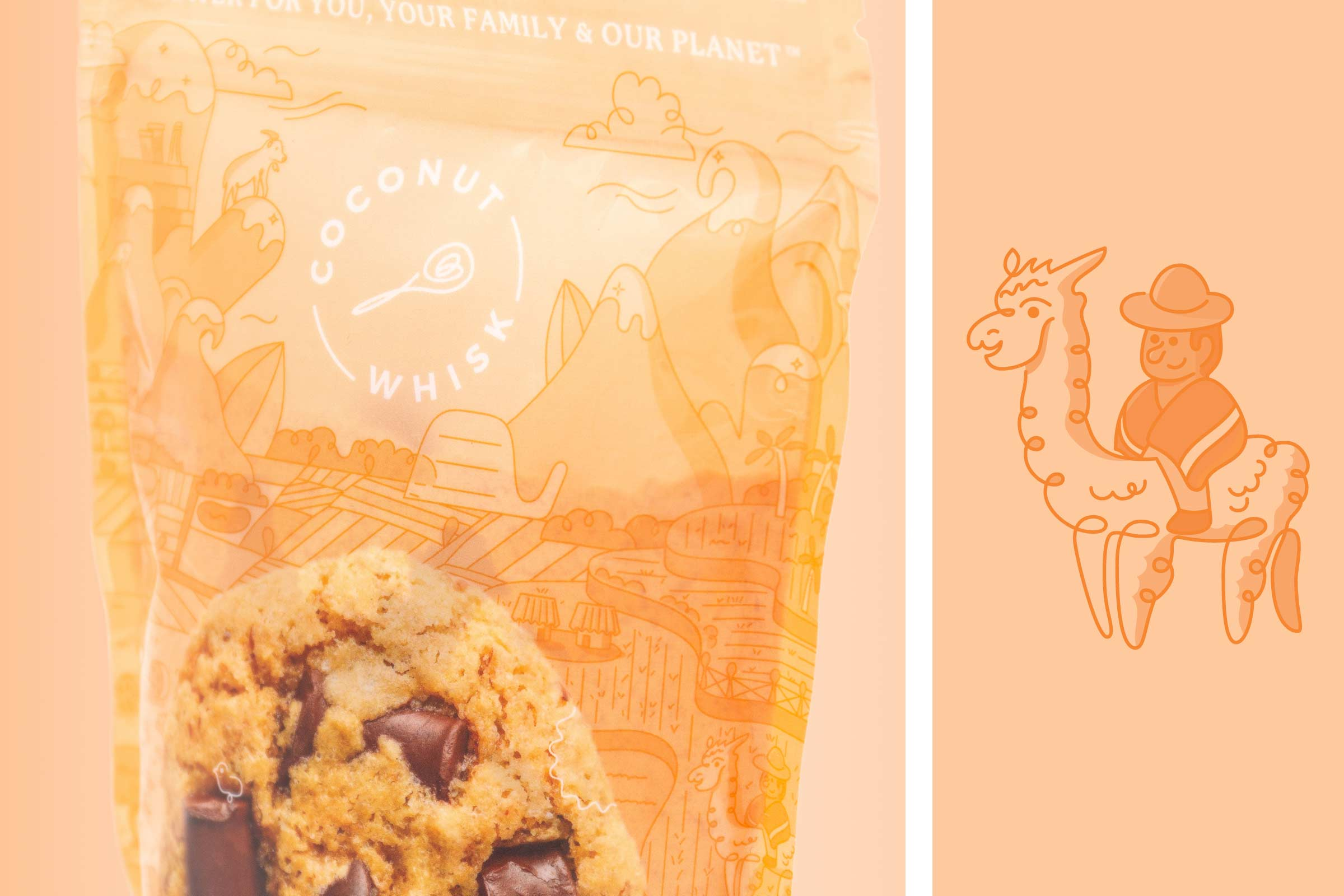 coconut whisk chocolate chip cookie packaging detail