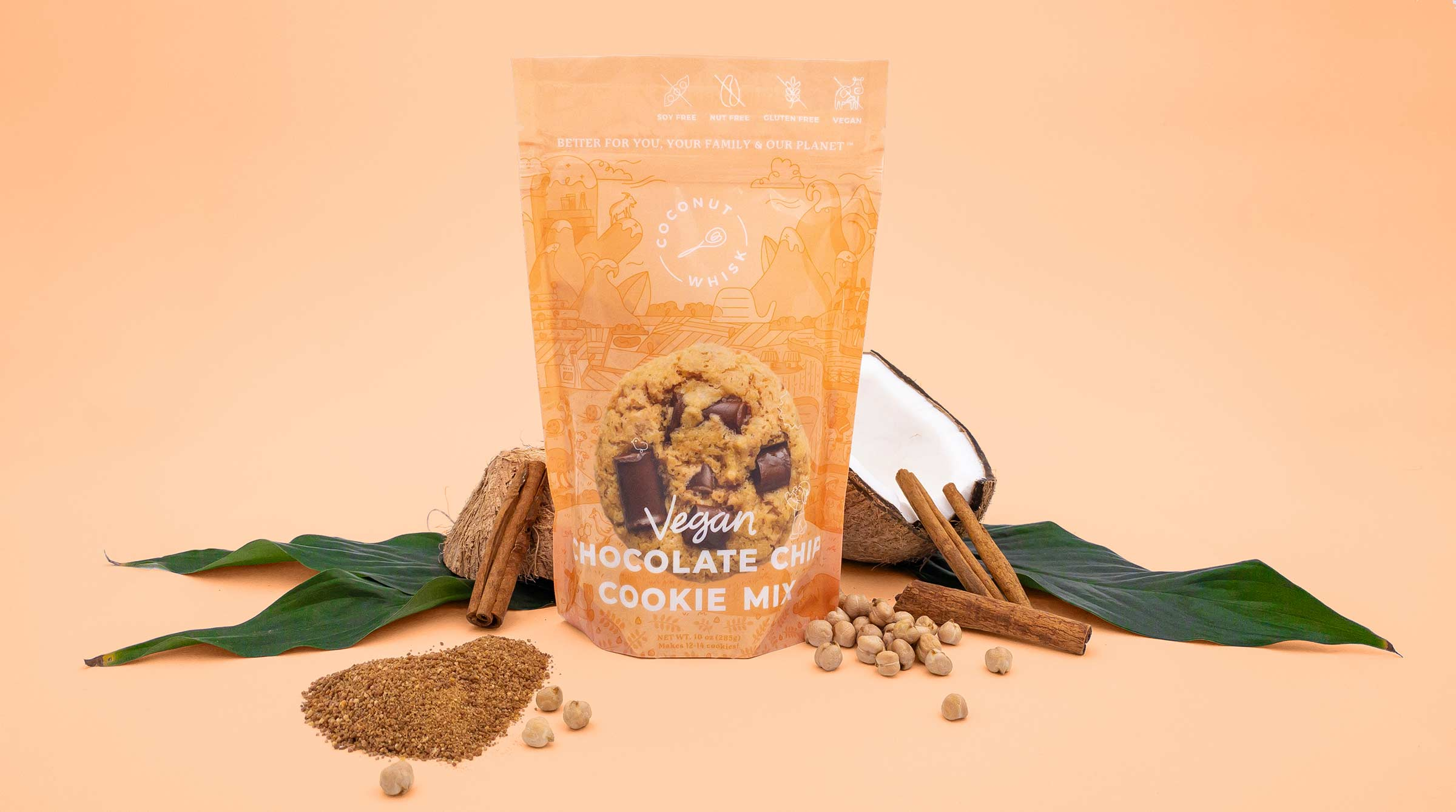 coconut whisk chocolate chip cookie packaging design