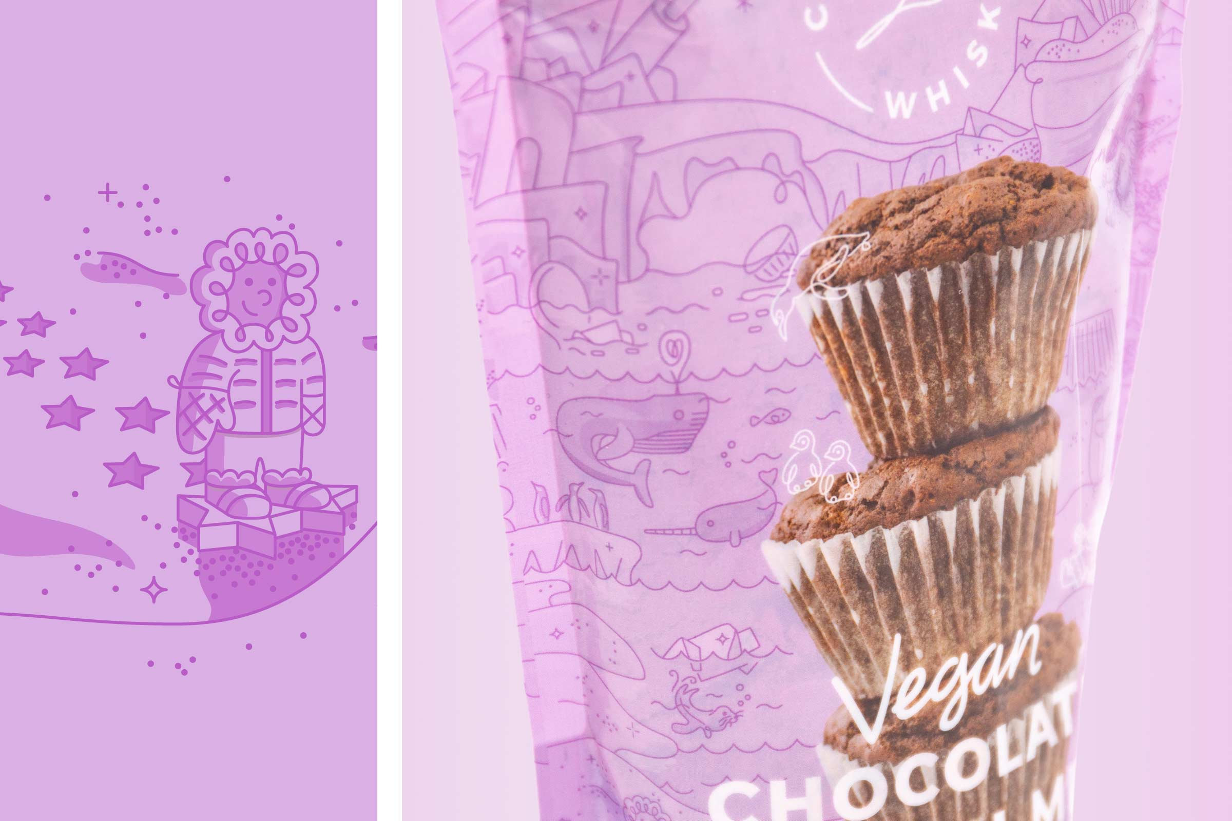 coconut whisk chocolate muffin packaging detail