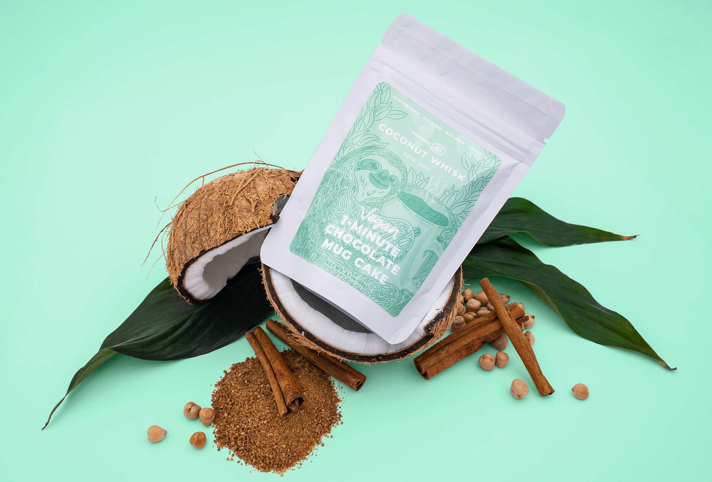 coconut whisk mug cake packaging design