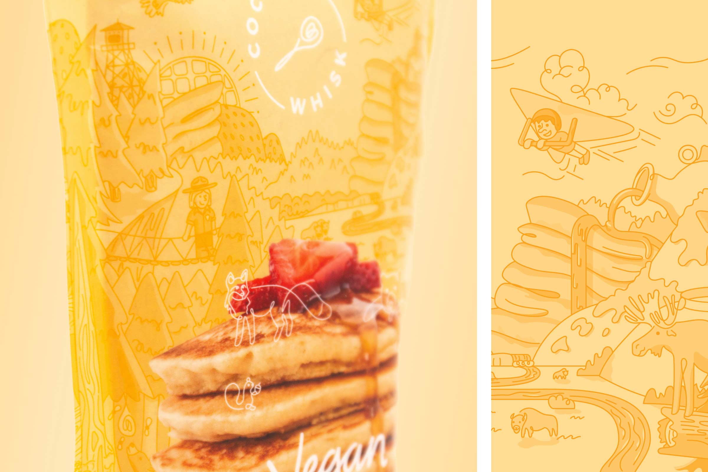 coconut whisk pancake waffle packaging detail