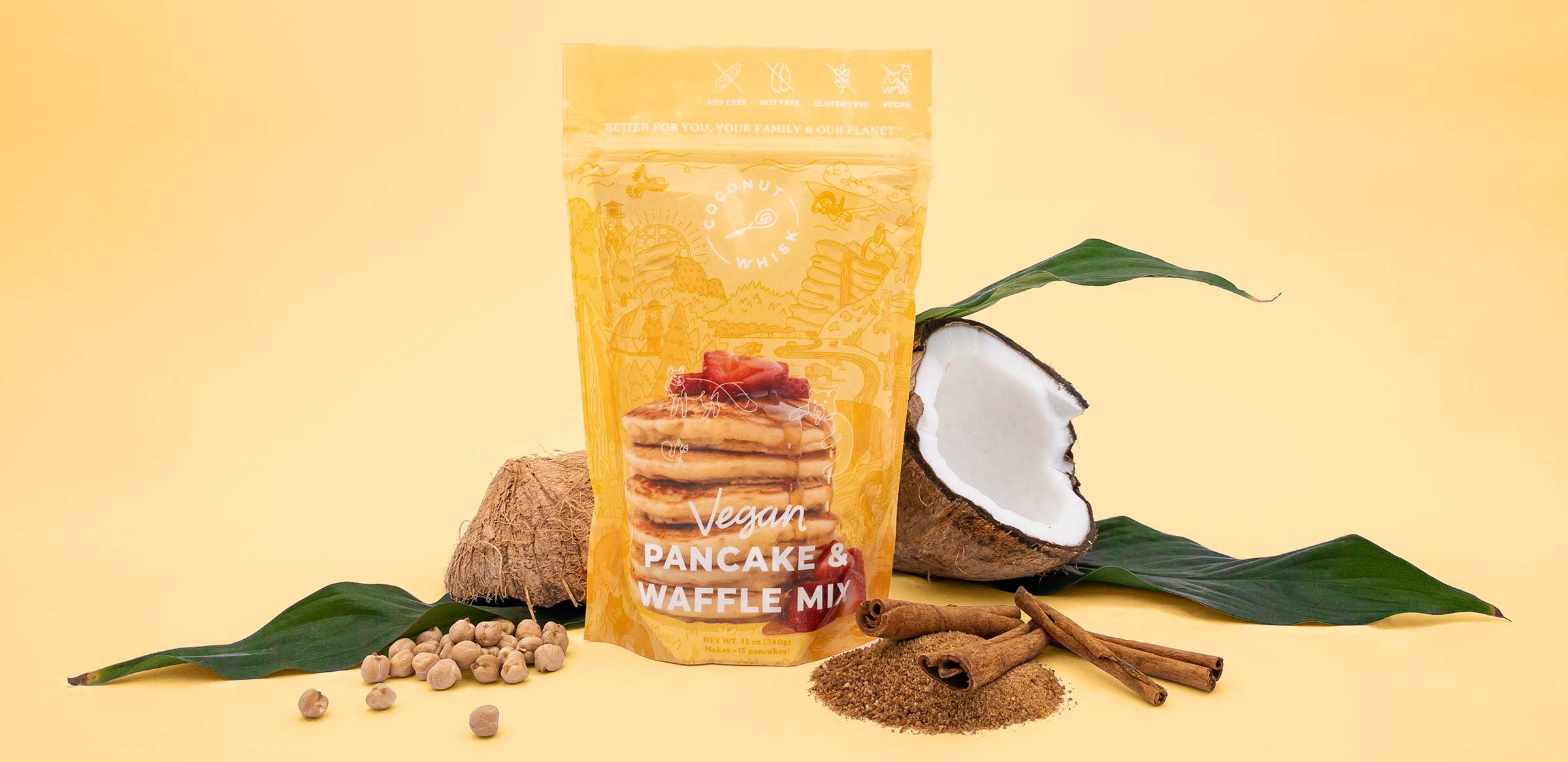 coconut whisk pancake waffle packaging design